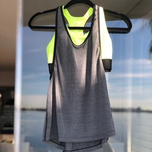 Nike | Heather Training Top with Bright Green Bra